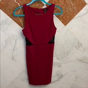 Red dress with black lace panels